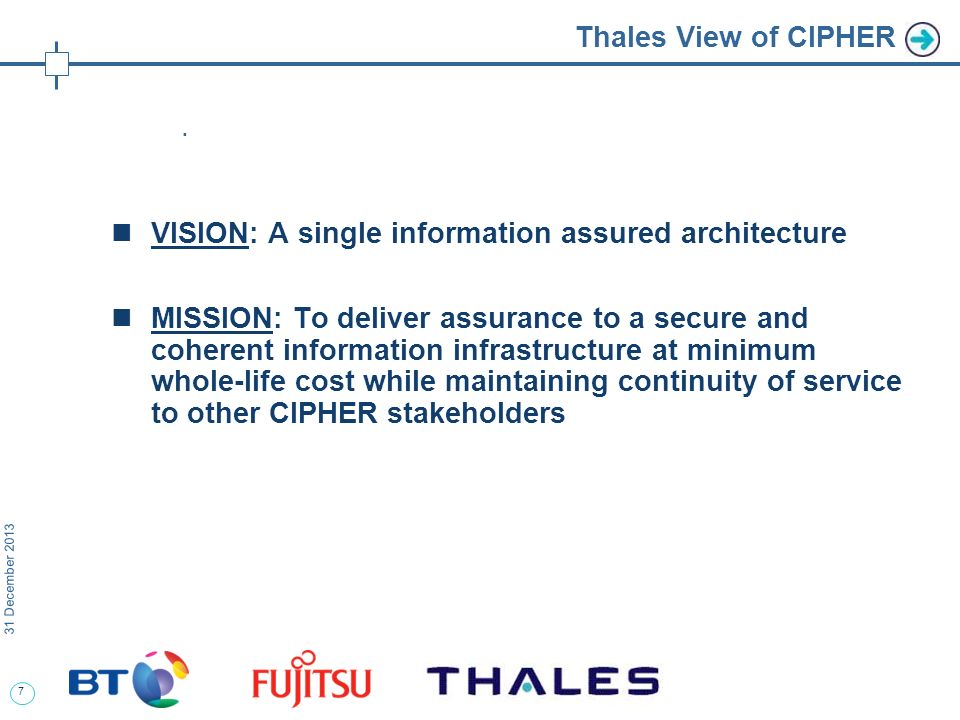7 31 December 2013 Thales View of CIPHER.