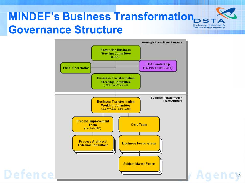 Name of entity 25 MINDEFs Business Transformation Governance Structure