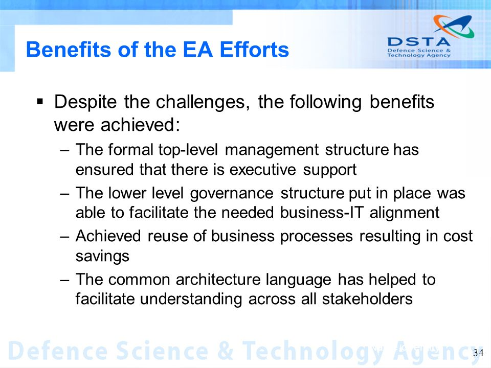 Name of entity 34 Benefits of the EA Efforts Despite the challenges, the following benefits were achieved: –The formal top-level management structure has ensured that there is executive support –The lower level governance structure put in place was able to facilitate the needed business-IT alignment –Achieved reuse of business processes resulting in cost savings –The common architecture language has helped to facilitate understanding across all stakeholders