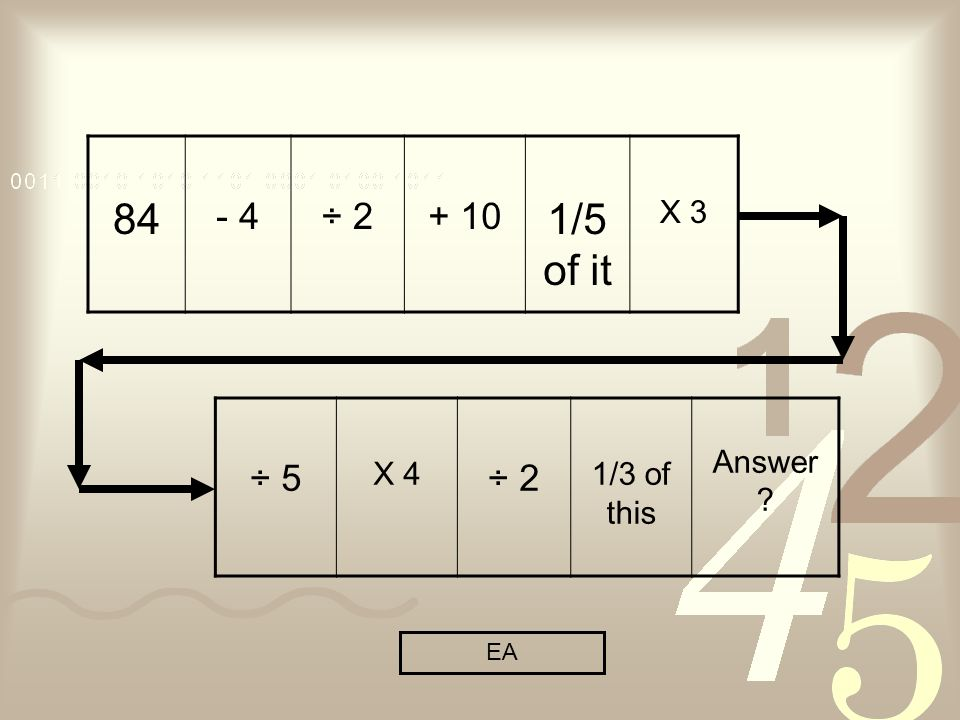 84 - 4÷ /5 of it X 3 ÷ 5 X 4 ÷ 2 1/3 of this Answer EA