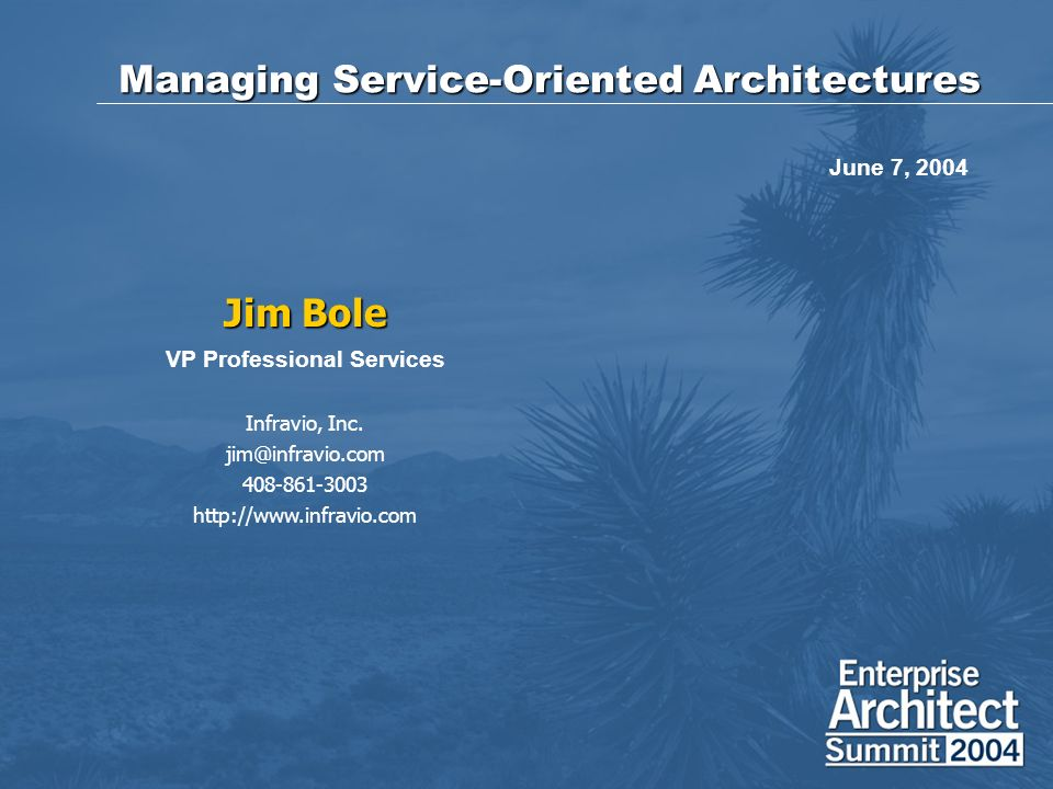 Managing Service-Oriented Architectures Jim Bole VP Professional Services Infravio, Inc.