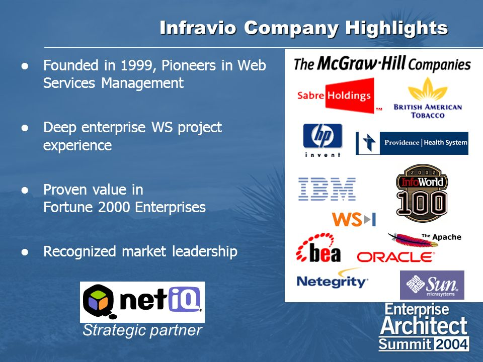 Infravio Company Highlights Founded in 1999, Pioneers in Web Services Management Deep enterprise WS project experience Proven value in Fortune 2000 Enterprises Recognized market leadership Strategic partner