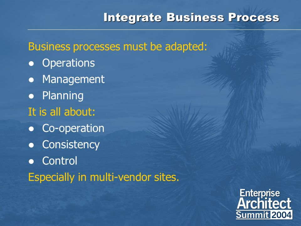 Integrate Business Process Business processes must be adapted: Operations Management Planning It is all about: Co-operation Consistency Control Especially in multi-vendor sites.