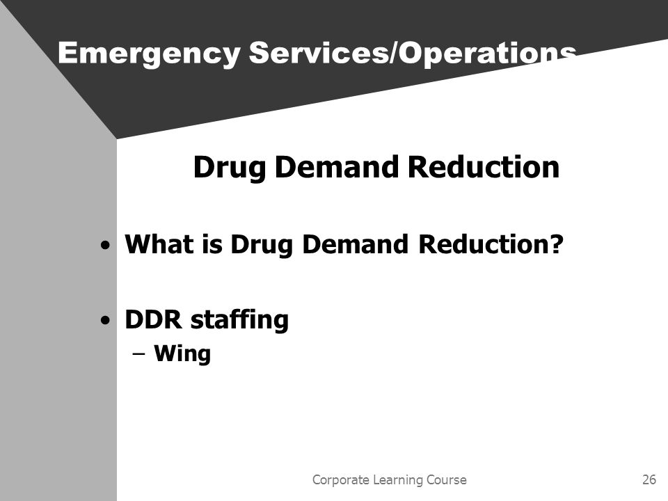 Corporate Learning Course26 Drug Demand Reduction What is Drug Demand Reduction.