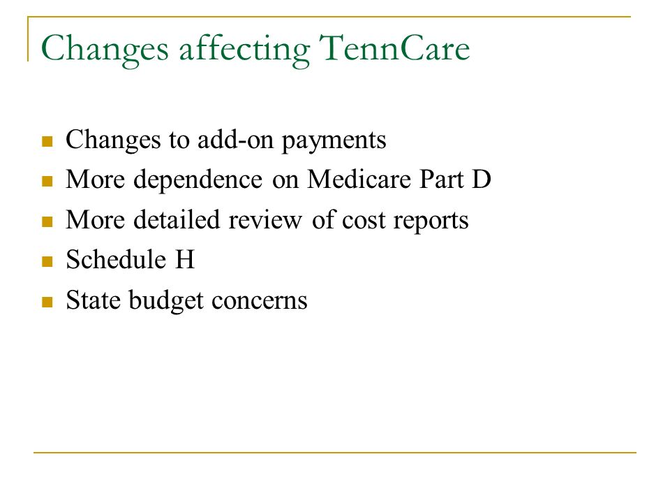 Changes affecting TennCare Changes to add-on payments More dependence on Medicare Part D More detailed review of cost reports Schedule H State budget concerns