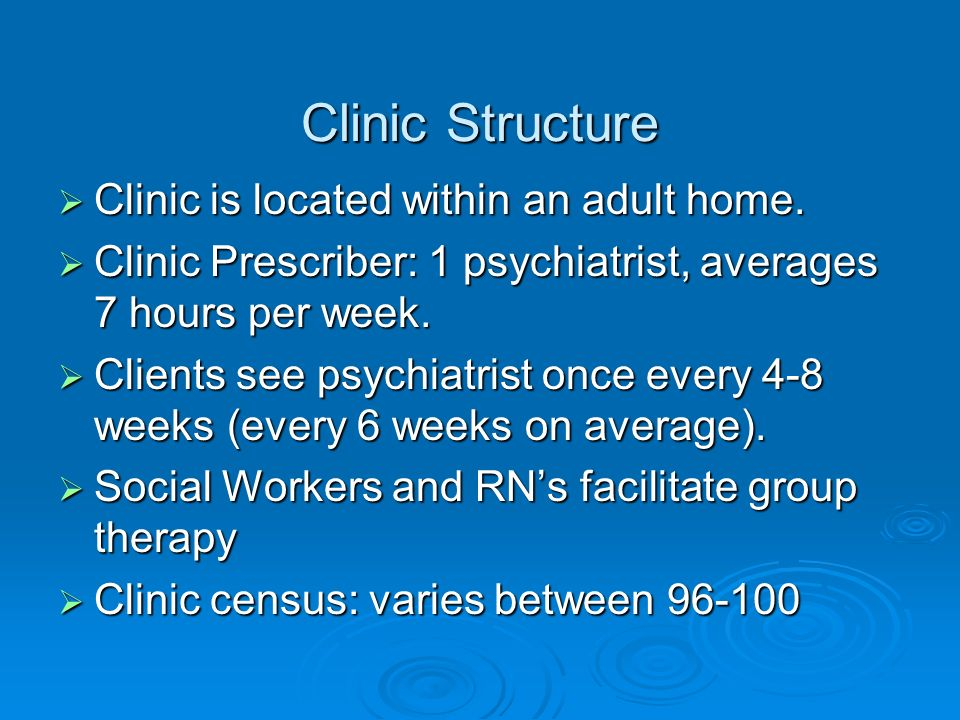 Clinic Structure Clinic is located within an adult home.