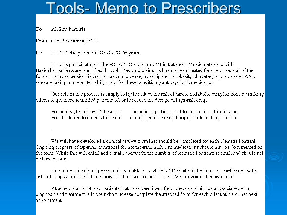 Tools- Memo to Prescribers