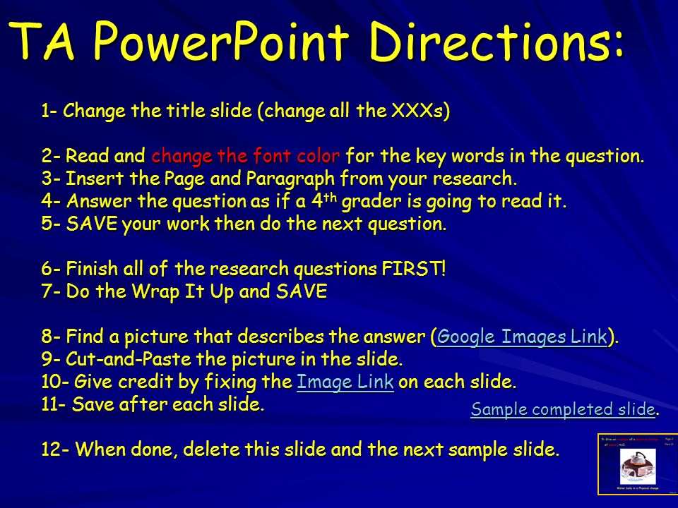 TA PowerPoint Directions: 1- Change the title slide (change all the XXXs) 2- Read and change the font color for the key words in the question.
