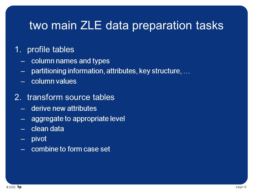 © 2002 page 12 two main ZLE data preparation tasks 1.profile tables –column names and types –partitioning information, attributes, key structure, … –column values 2.transform source tables –derive new attributes –aggregate to appropriate level –clean data –pivot –combine to form case set