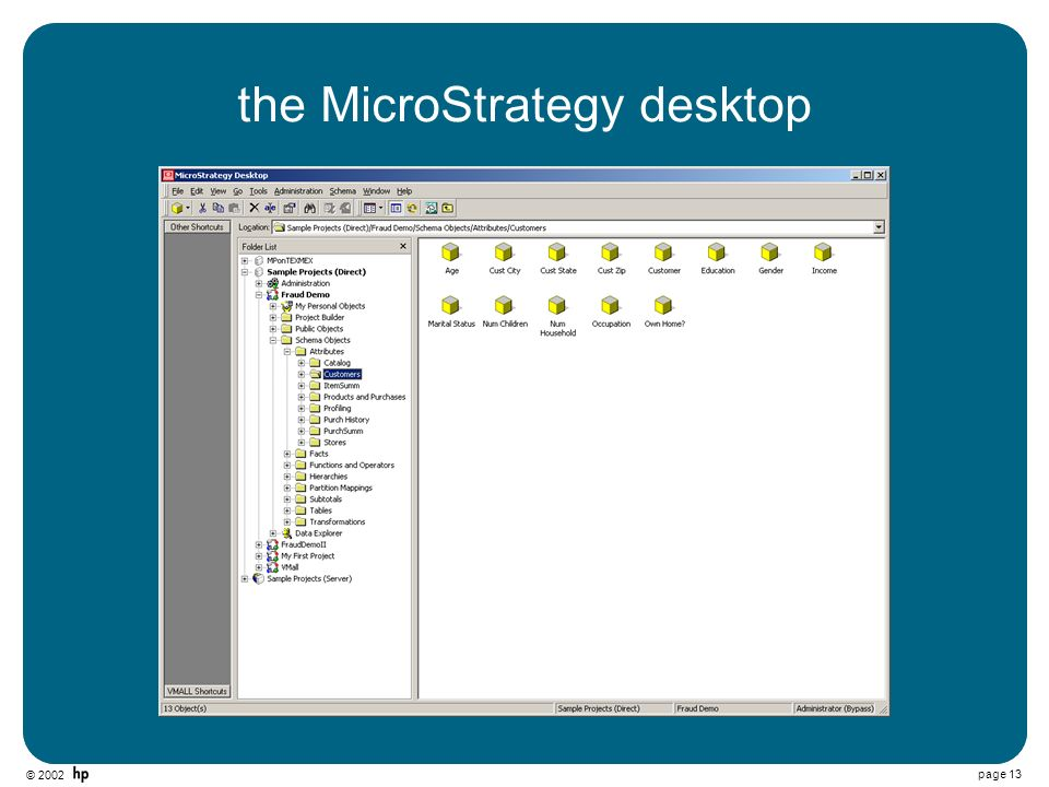 © 2002 page 13 the MicroStrategy desktop