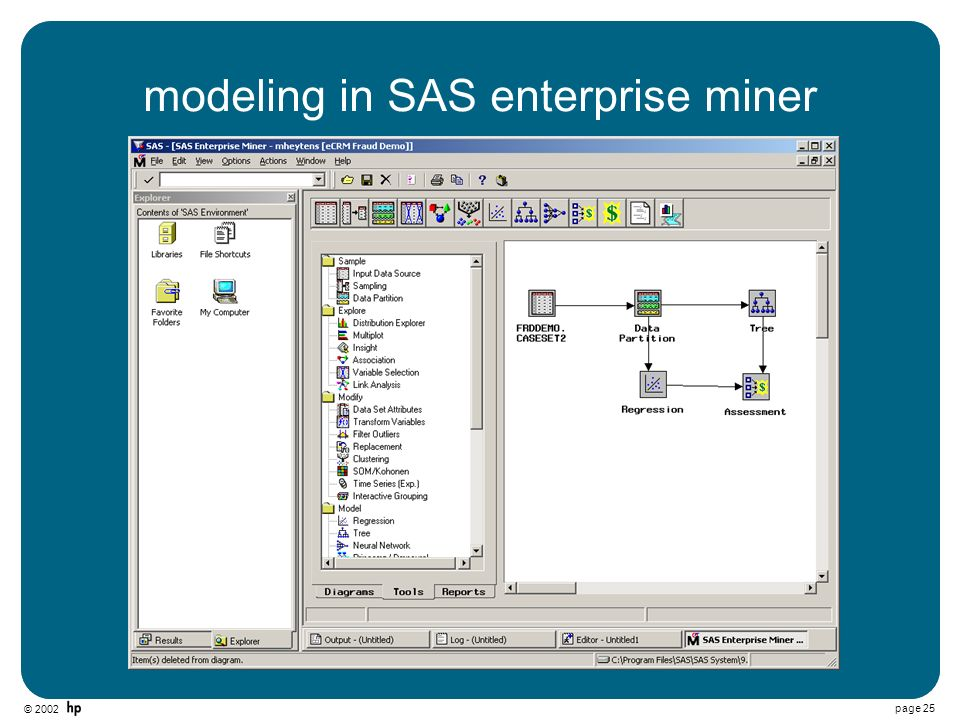 © 2002 page 25 modeling in SAS enterprise miner