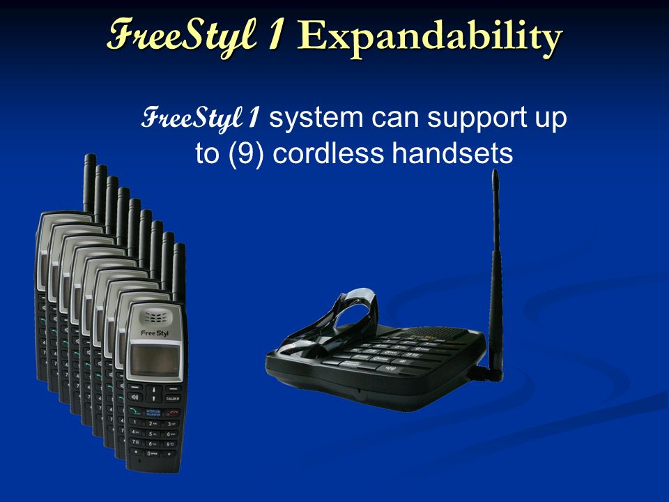 FreeStyl 1 Expandability FreeStyl 1 system can support up to (9) cordless handsets