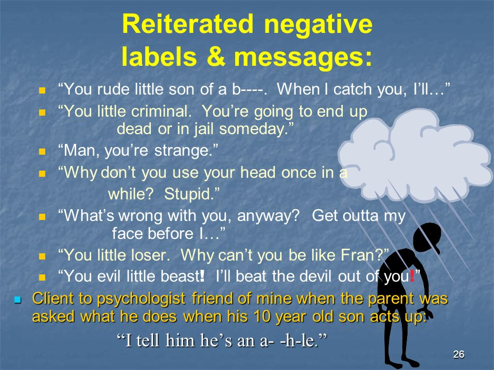 26 Reiterated negative labels & messages: You rude little son of a b----.
