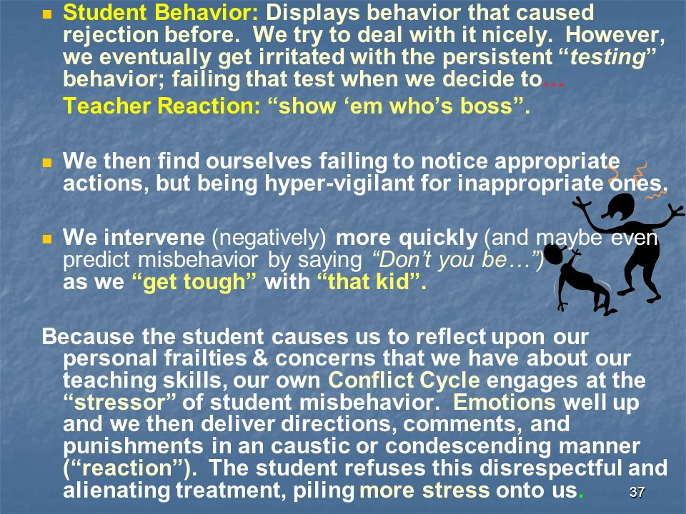 37 Student Behavior: Displays behavior that caused rejection before.
