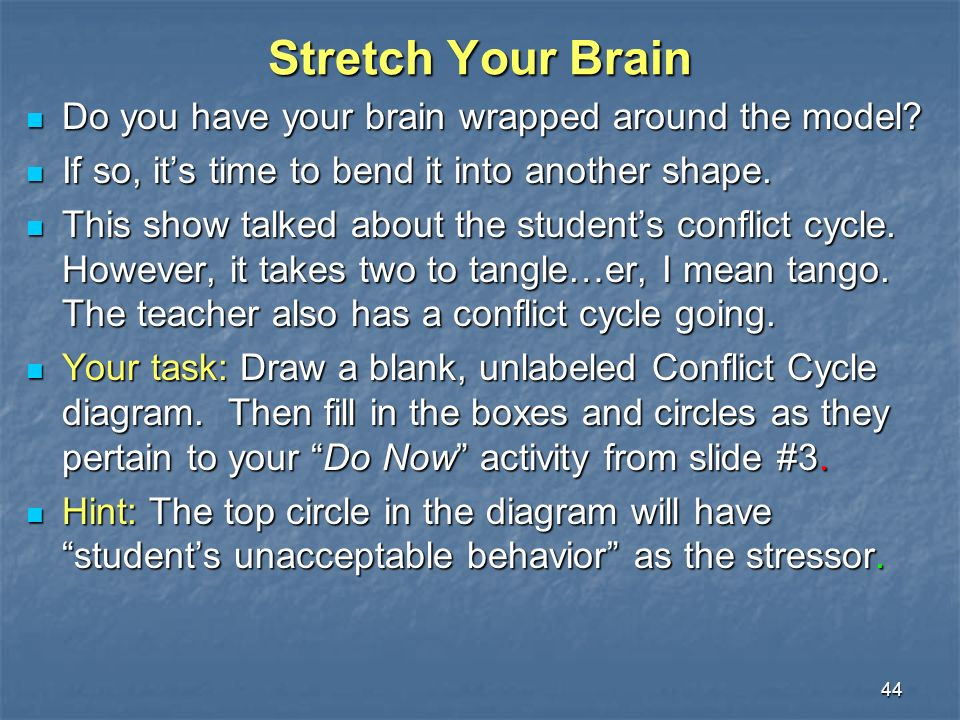 44 Stretch Your Brain Do you have your brain wrapped around the model.