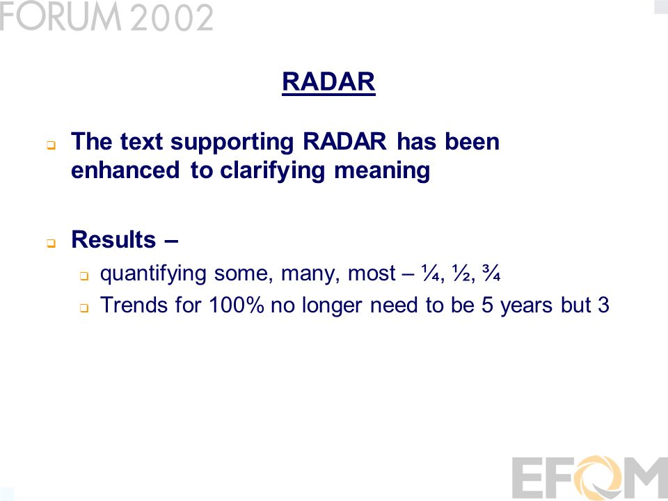 RADAR The text supporting RADAR has been enhanced to clarifying meaning Results – quantifying some, many, most – ¼, ½, ¾ Trends for 100% no longer need to be 5 years but 3