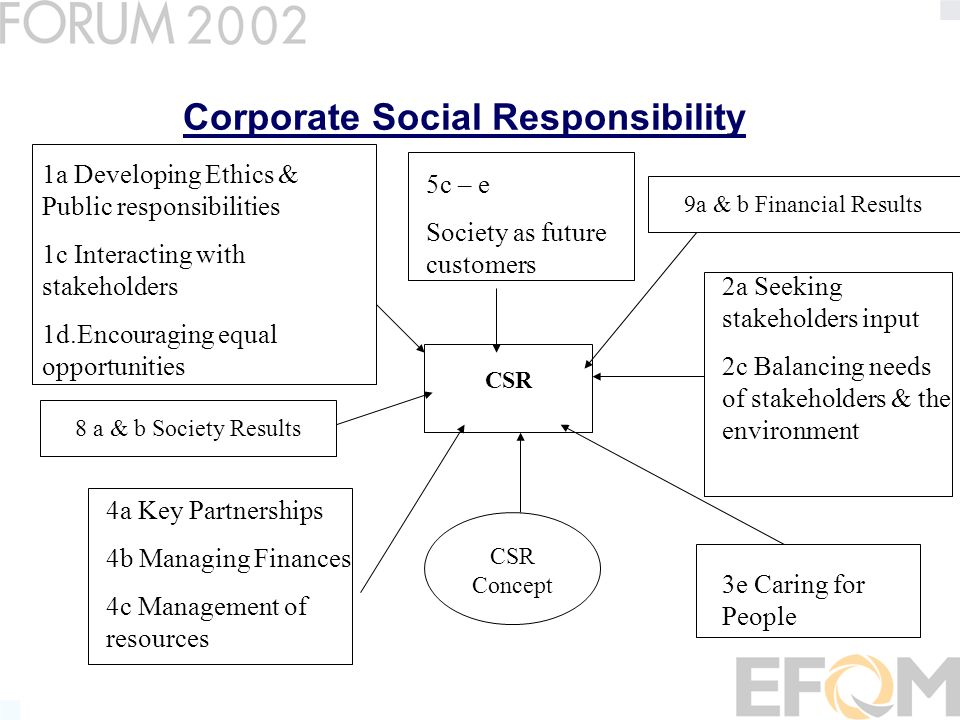 Corporate Social Responsibility CSR 3e Caring for People 4a Key Partnerships 4b Managing Finances 4c Management of resources 5c – e Society as future customers 9a & b Financial Results8 a & b Society Results CSR Concept 2a Seeking stakeholders input 2c Balancing needs of stakeholders & the environment 1a Developing Ethics & Public responsibilities 1c Interacting with stakeholders 1d.Encouraging equal opportunities