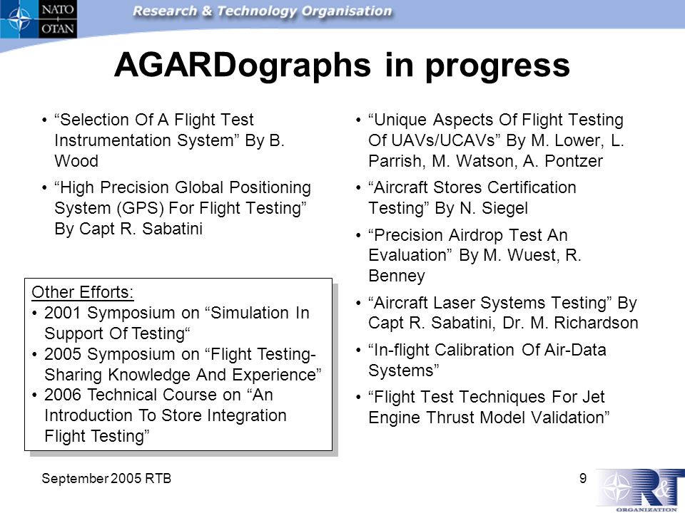 September 2005 RTB 9 AGARDographs in progress Selection Of A Flight Test Instrumentation System By B.