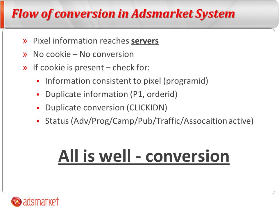 Flow of conversion in Adsmarket System » Pixel information reaches servers » No cookie – No conversion » If cookie is present – check for: Information consistent to pixel (programid) Duplicate information (P1, orderid) Duplicate conversion (CLICKIDN) Status (Adv/Prog/Camp/Pub/Traffic/Assocaition active) All is well - conversion
