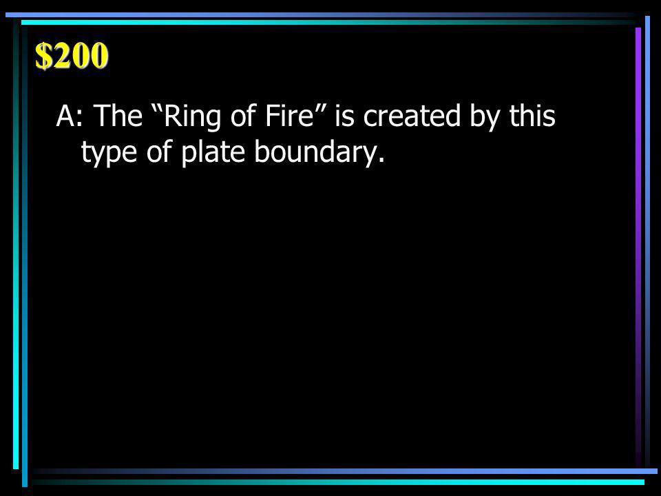 $200 A: The Ring of Fire is created by this type of plate boundary.
