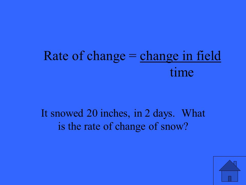 Rate of change = change in field time It snowed 20 inches, in 2 days.
