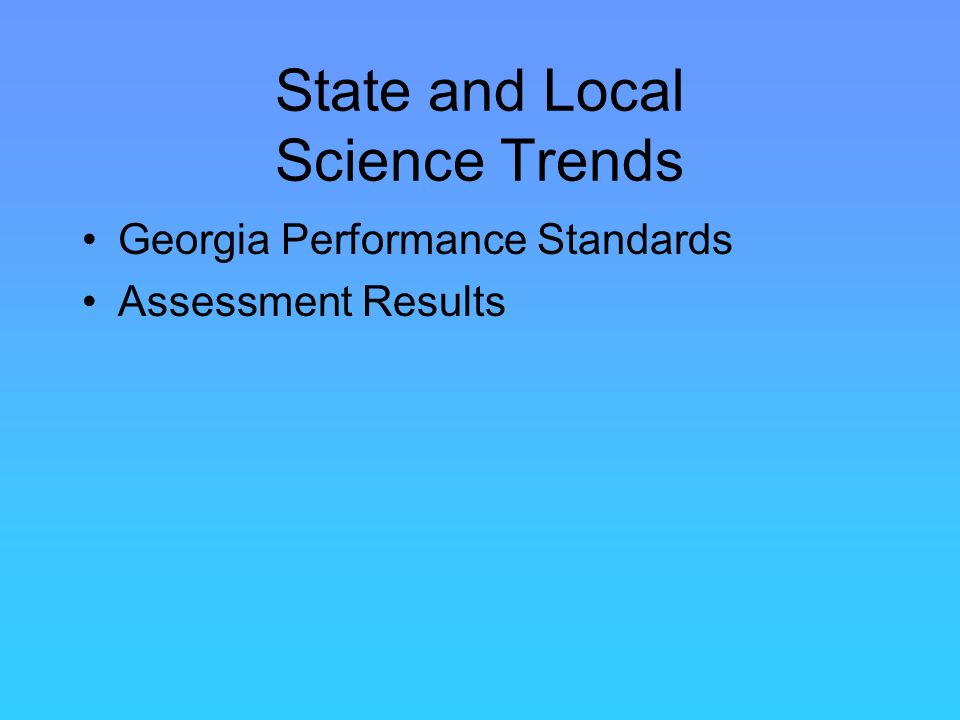 State and Local Science Trends Georgia Performance Standards Assessment Results