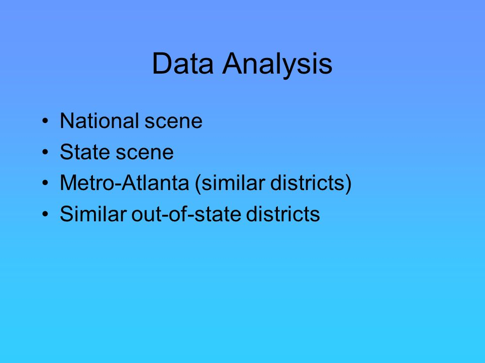 Data Analysis National scene State scene Metro-Atlanta (similar districts) Similar out-of-state districts