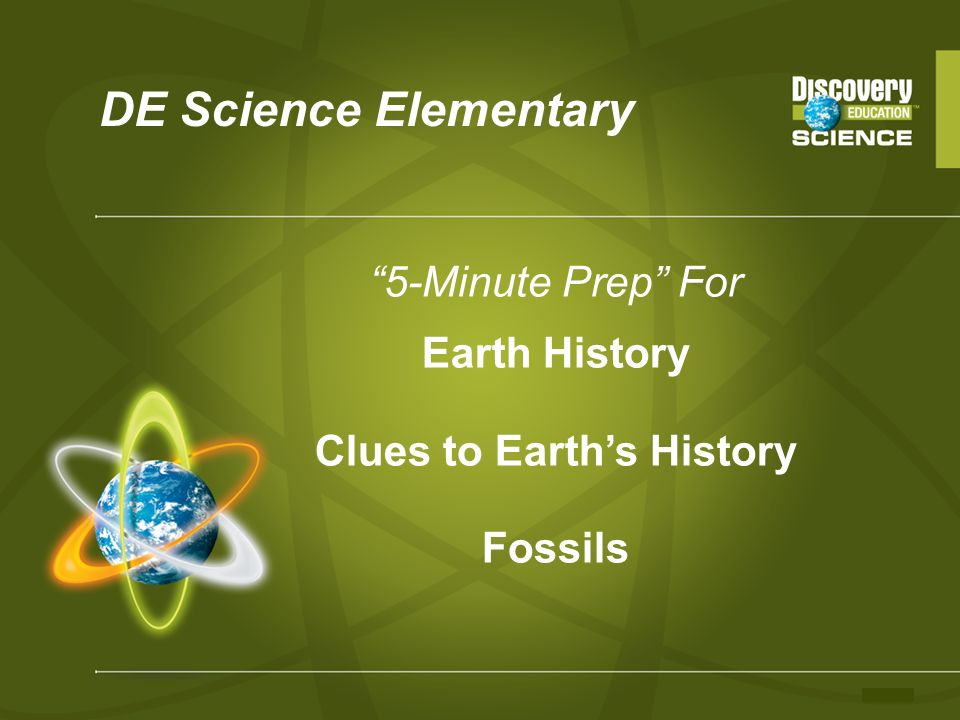 DE Science Elementary 5-Minute Prep For Earth History Clues to Earths History Fossils
