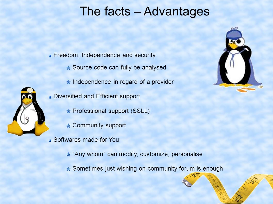 The facts – Advantages Freedom, Independence and security Source code can fully be analysed Independence in regard of a provider Diversified and Efficient support Professional support (SSLL) Community support Softwares made for You Any whom can modify, customize, personalise Sometimes just wishing on community forum is enough
