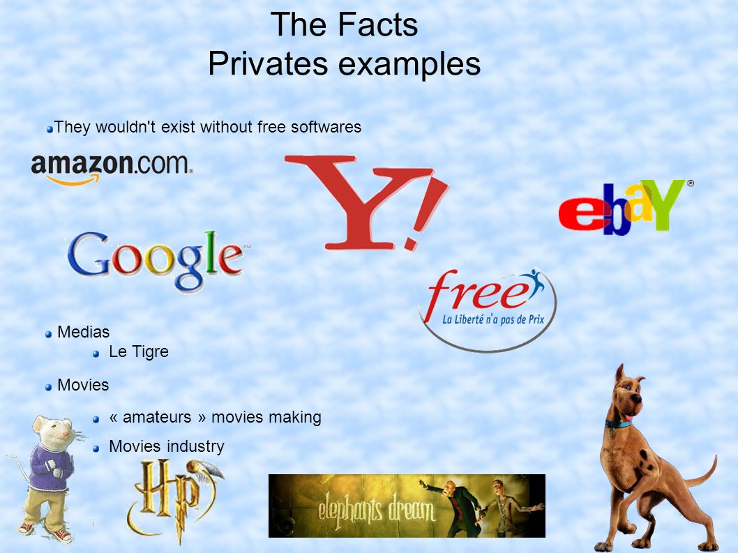 The Facts Privates examples Medias Le Tigre Movies « amateurs » movies making Movies industry They wouldn t exist without free softwares