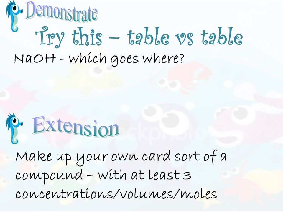 Try this – table vs table NaOH - which goes where.