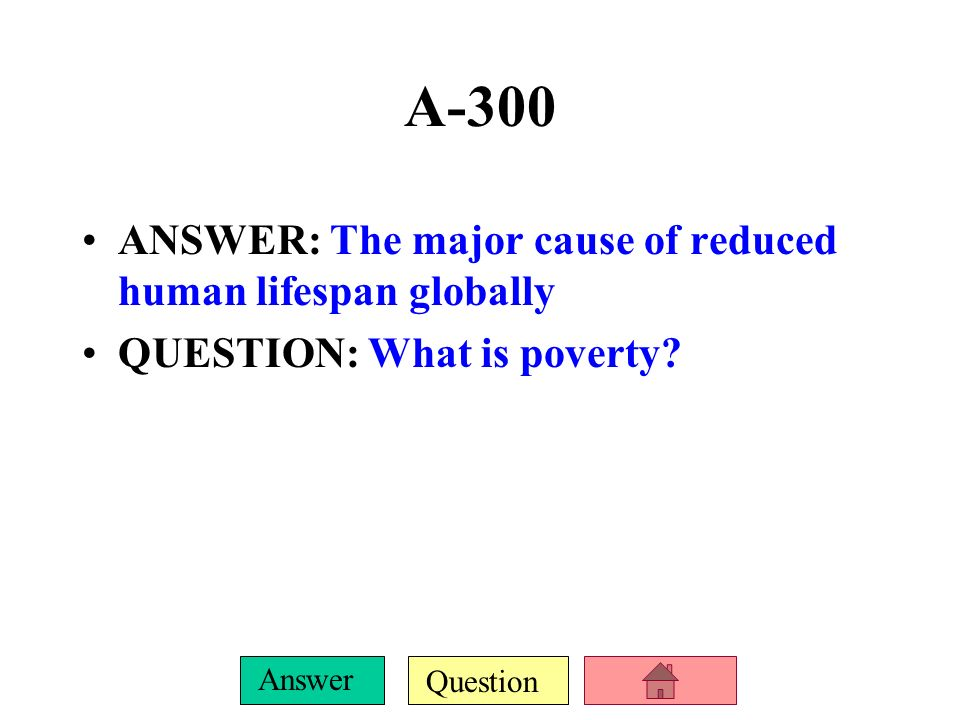 Question Answer A-200 ANSWER: Ecological footprint QUESTION: Amount of productive land and water needed to sustain each person with the resources they use and to absorb or dispose of their wastes