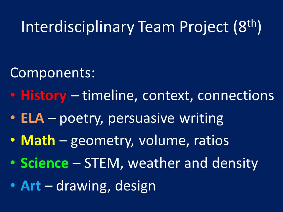 Interdisciplinary Team Project (8 th ) Components: History – timeline, context, connections ELA – poetry, persuasive writing Math – geometry, volume, ratios Science – STEM, weather and density Art – drawing, design