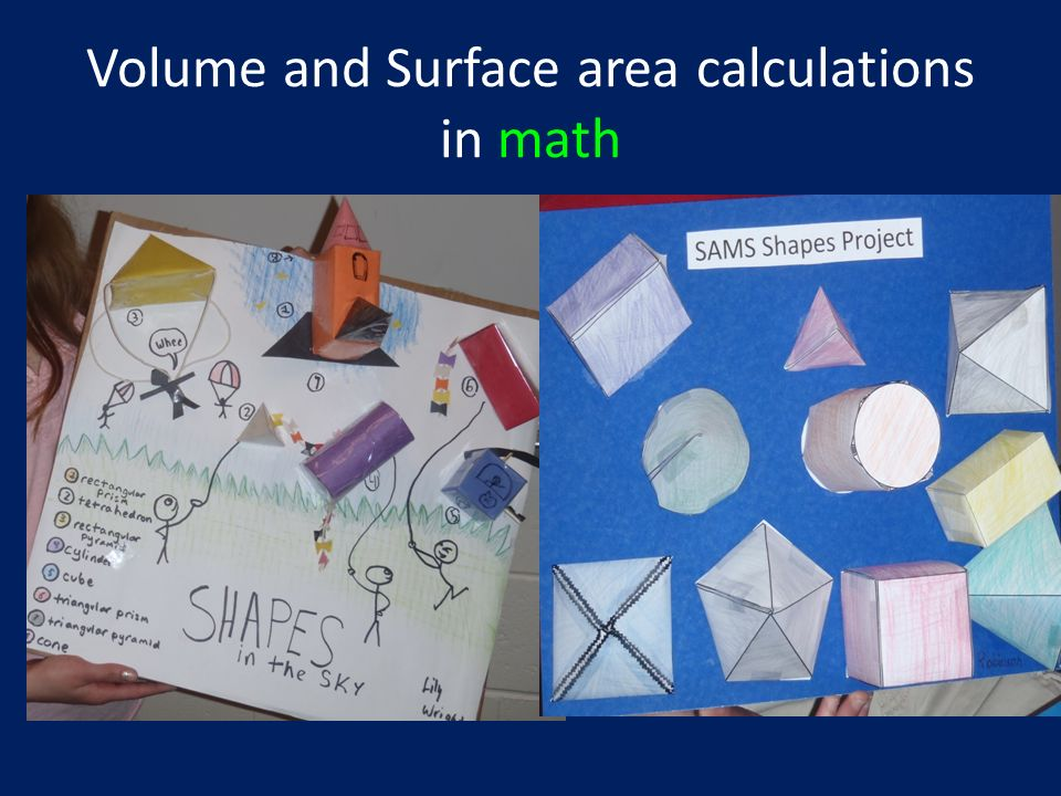 Volume and Surface area calculations in math