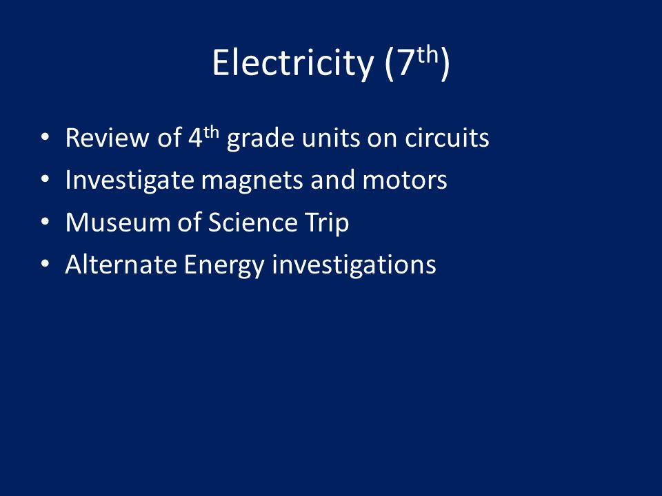 Electricity (7 th ) Review of 4 th grade units on circuits Investigate magnets and motors Museum of Science Trip Alternate Energy investigations