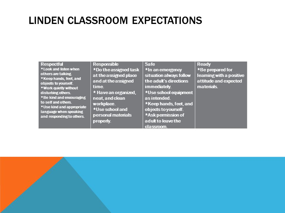LINDEN CLASSROOM EXPECTATIONS Respectful *Look and listen when others are talking.