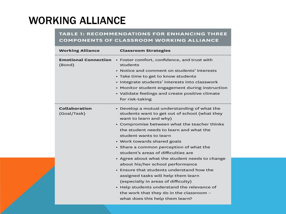 WORKING ALLIANCE