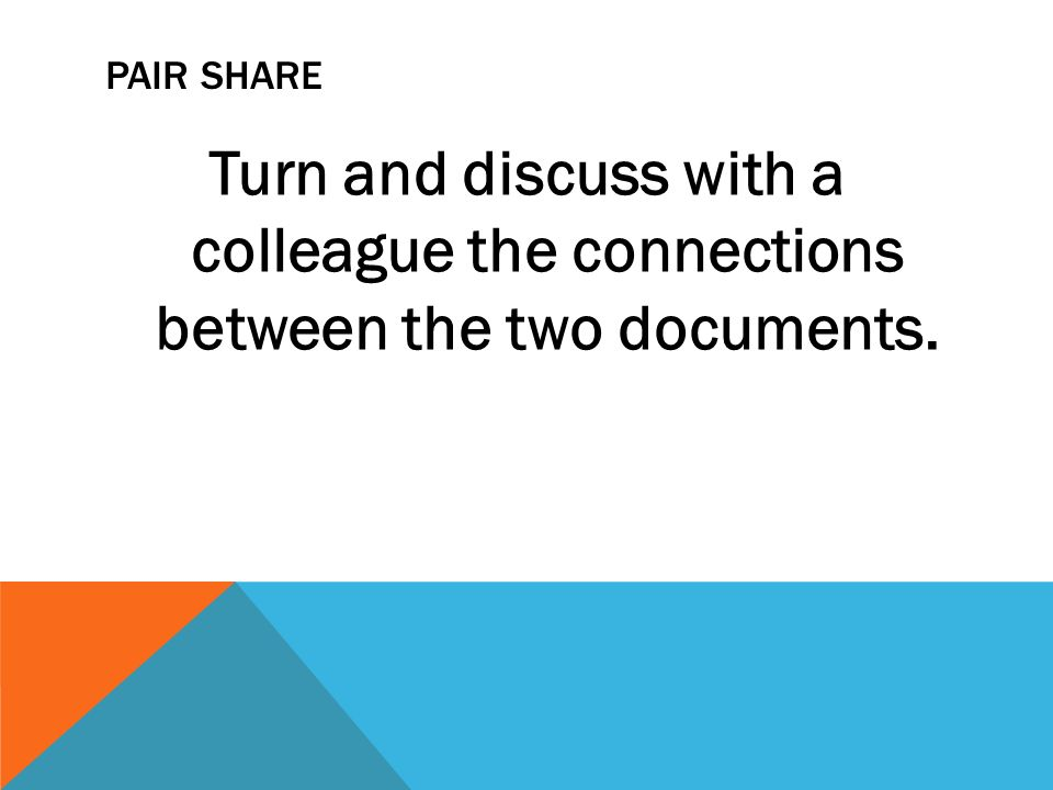 PAIR SHARE Turn and discuss with a colleague the connections between the two documents.