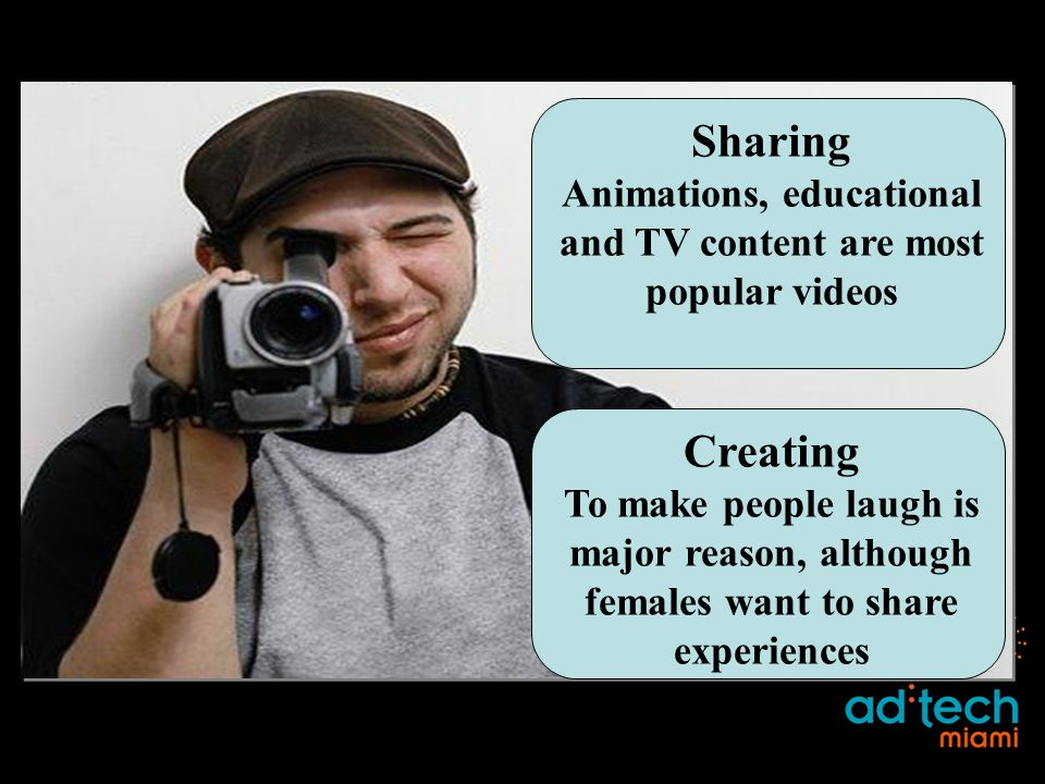 Sharing Animations, educational and TV content are most popular videos Creating To make people laugh is major reason, although females want to share experiences