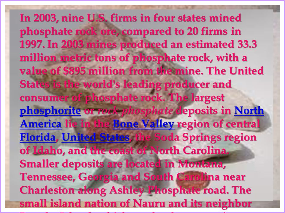 In 2003, nine U.S. firms in four states mined phosphate rock ore, compared to 20 firms in 1997.