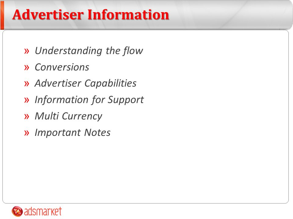 » Understanding the flow » Conversions » Advertiser Capabilities » Information for Support » Multi Currency » Important Notes