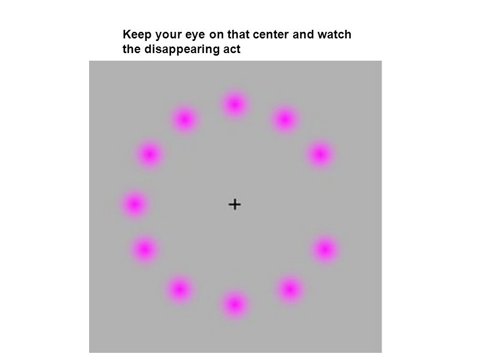 Keep your eye on that center and watch the disappearing act