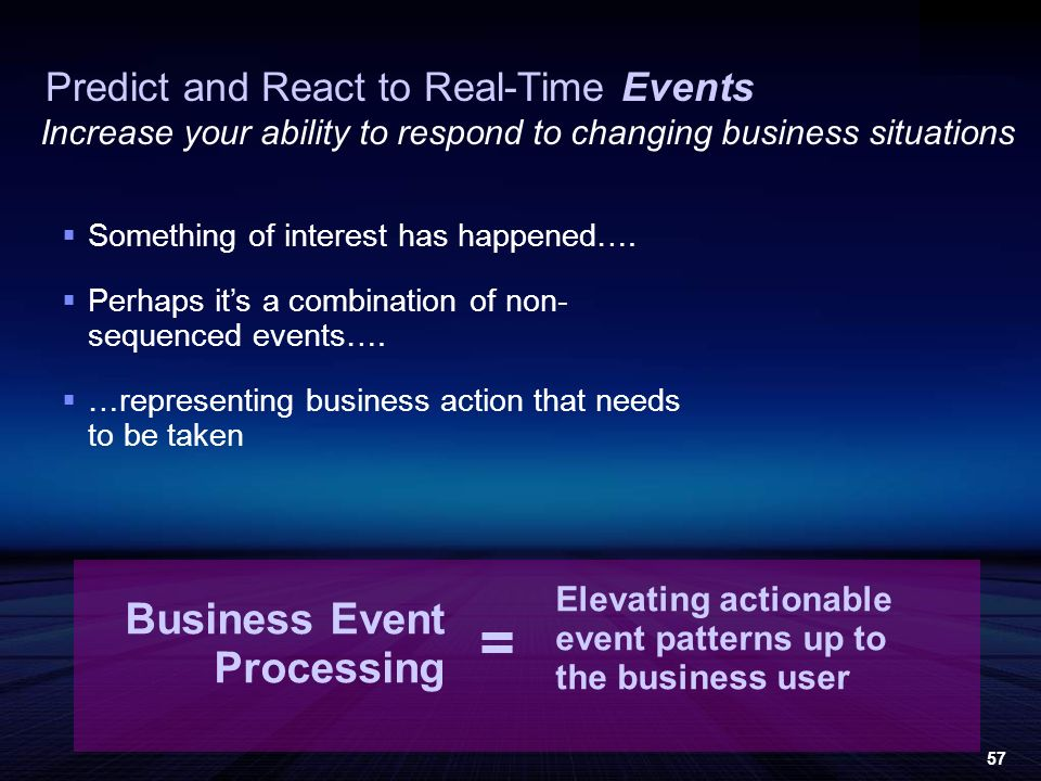 57 Increase your ability to respond to changing business situations Business Event Processing Predict and React to Real-Time Events Something of interest has happened….