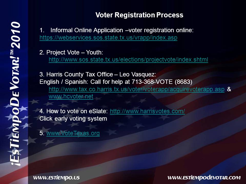2010 Voter Registration Process 1.