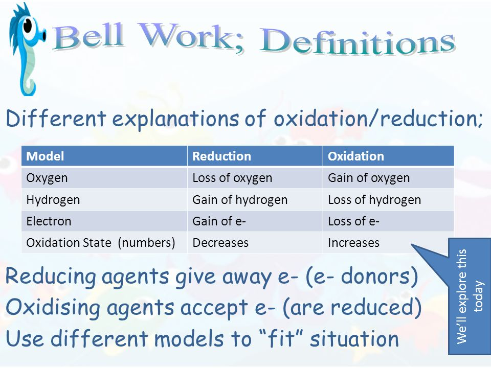 Different explanations of oxidation/reduction; Reducing agents give away e- (e- donors) Oxidising agents accept e- (are reduced) Use different models to fit situation ModelReductionOxidation OxygenLoss of oxygenGain of oxygen HydrogenGain of hydrogenLoss of hydrogen ElectronGain of e-Loss of e- Oxidation State (numbers)DecreasesIncreases Well explore this today