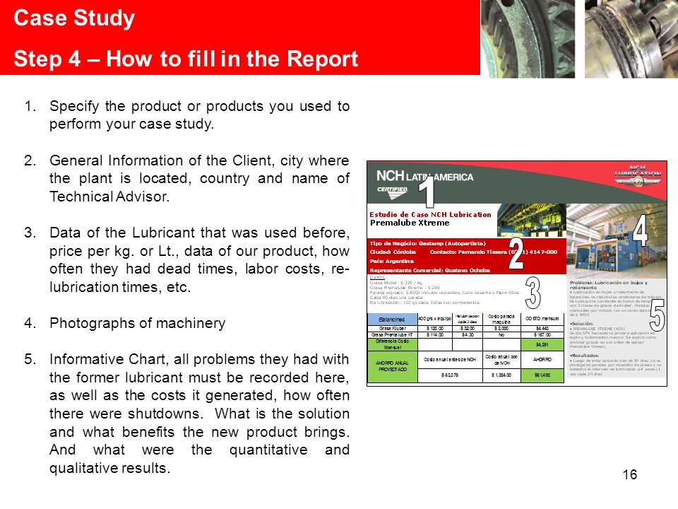16 Case Study Step 4 – How to fill in the Report 1.Specify the product or products you used to perform your case study.