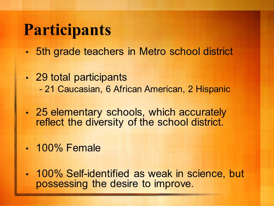 Participants 5th grade teachers in Metro school district 29 total participants - 21 Caucasian, 6 African American, 2 Hispanic 25 elementary schools, which accurately reflect the diversity of the school district.