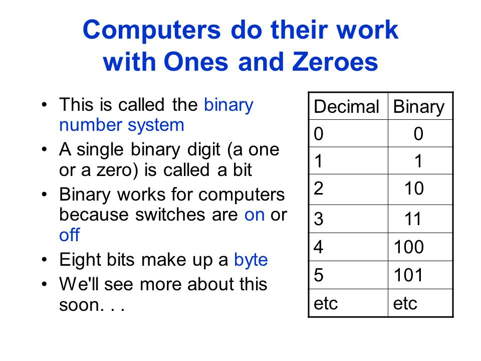 Computers do their work with Ones and Zeroes This is called the binary number system A single binary digit (a one or a zero) is called a bit Binary works for computers because switches are on or off Eight bits make up a byte We ll see more about this soon...