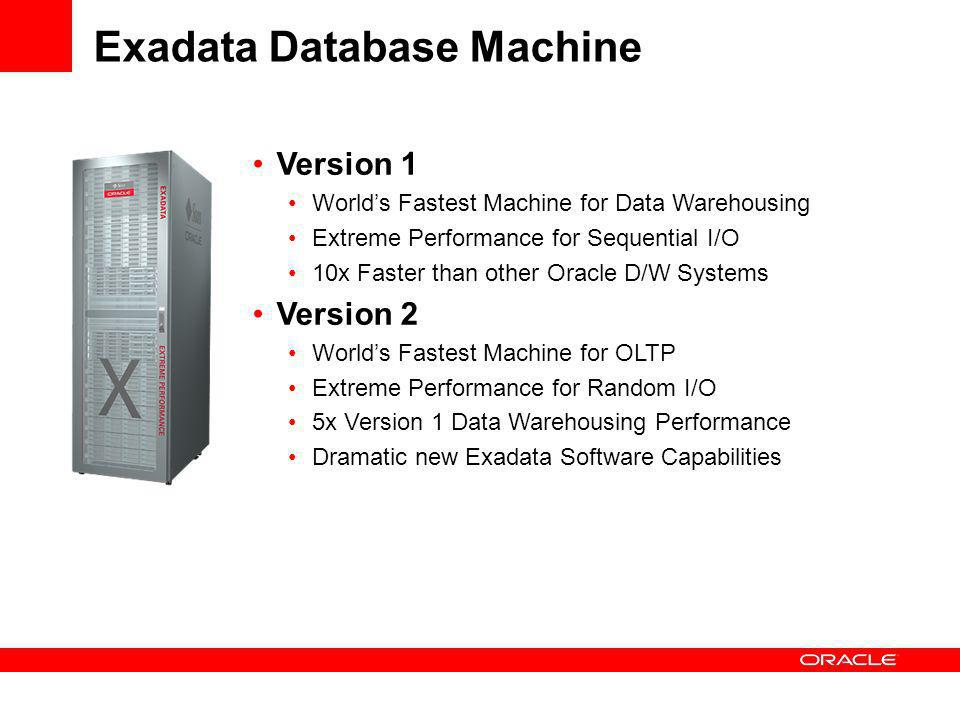 Exadata Database Machine Version 1 Worlds Fastest Machine for Data Warehousing Extreme Performance for Sequential I/O 10x Faster than other Oracle D/W Systems Version 2 Worlds Fastest Machine for OLTP Extreme Performance for Random I/O 5x Version 1 Data Warehousing Performance Dramatic new Exadata Software Capabilities