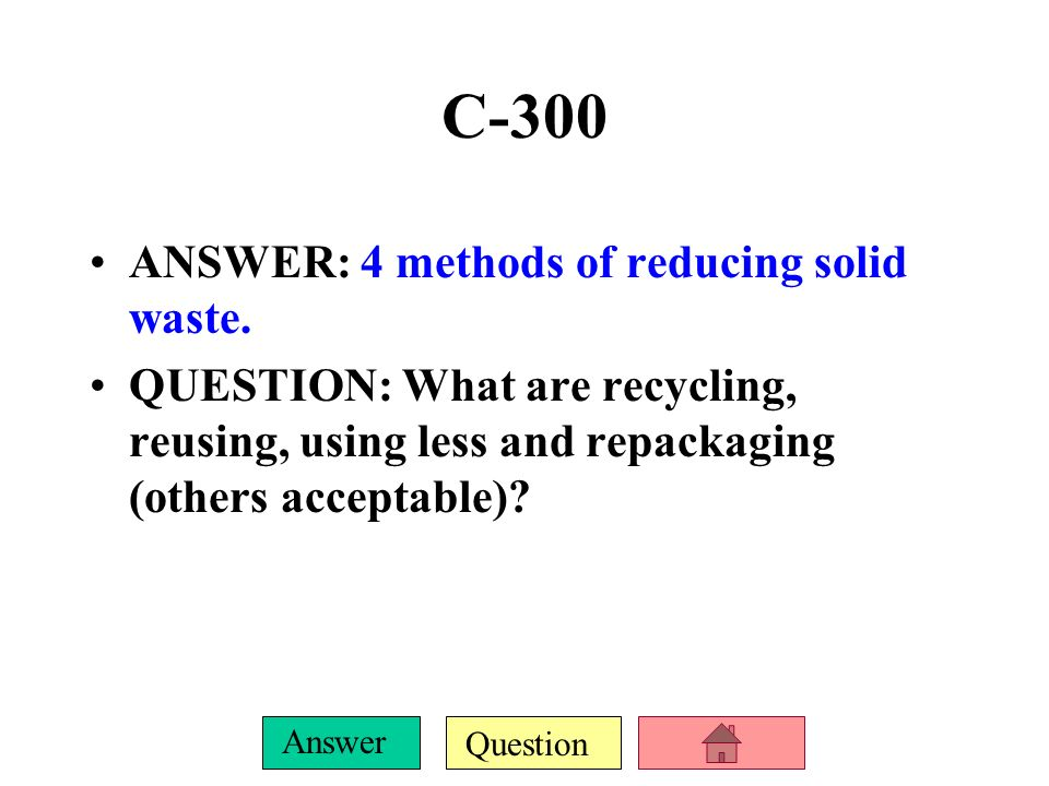 Question Answer C-200 ANSWER: Abandoned waste sites that are cleaned up and used for parks, parking lots or other urban uses.